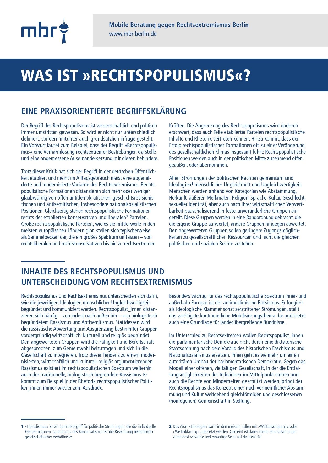 """Was ist """"Rechtspopulismus""""? (2020)"""