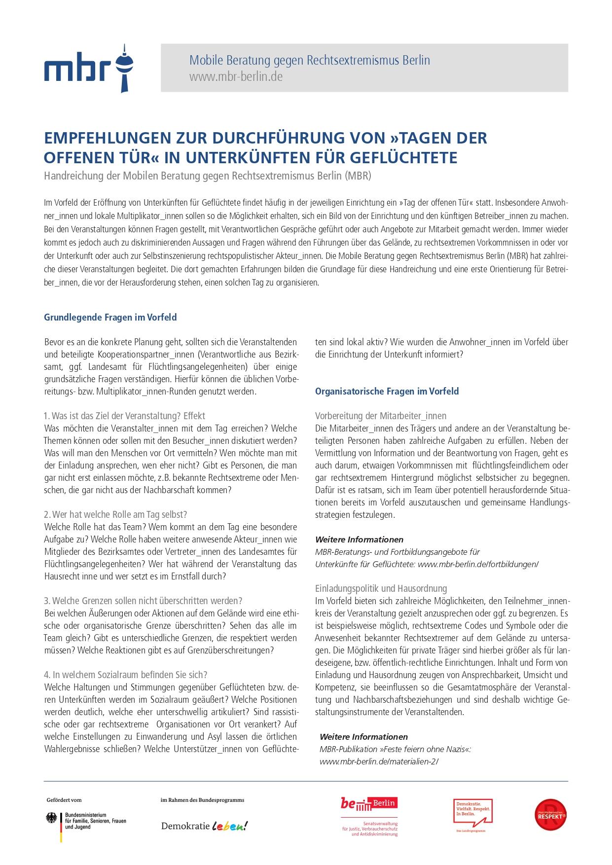 """Empfehlungen zur Durchführung von """"Tagen der offenen Tür"""" in Unterkünften für Geflüchtete (2018)"""
