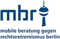 """MBR-Logo in Dunkelblau: neben den Buchstaben MBR ist der Fernsehturm dargstellt, darunter steht """"mobile beratung gegen rechtsextremismus berlin"""""""
