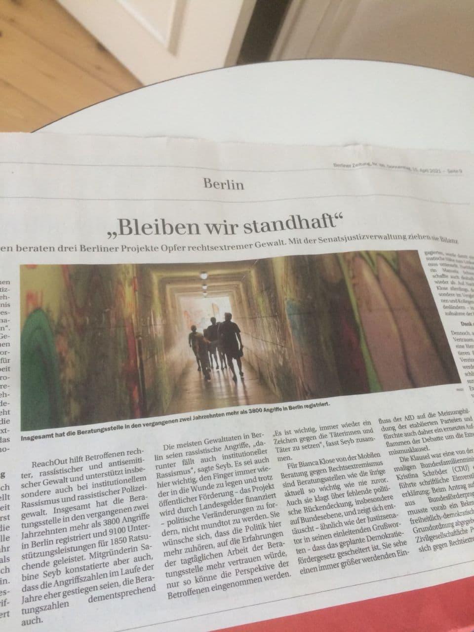 """""""Bleiben wir standhaft"""" Pressespiegel 20 Jahre MBR"""