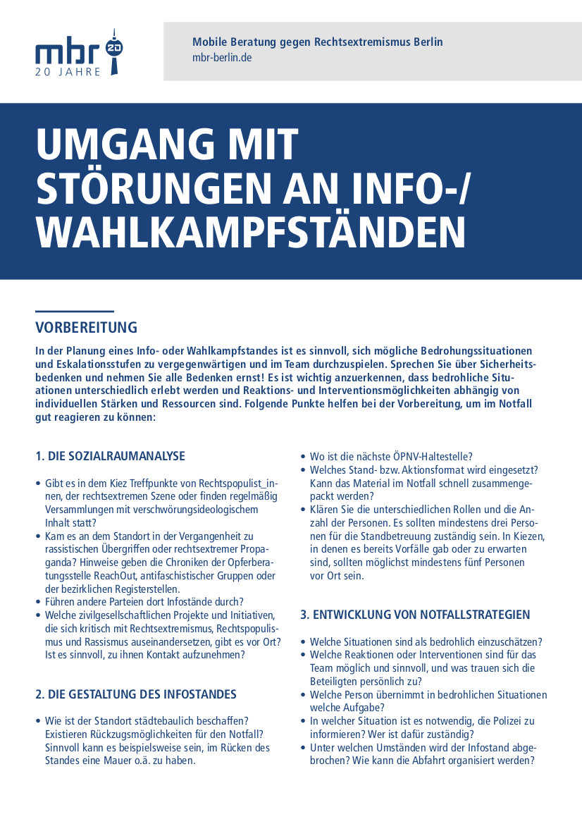 Umgang mit Störungen an Info-/ Wahlkampfständen (2021)